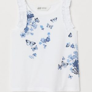 H&M Kids Frill-trimmed Jersey Top