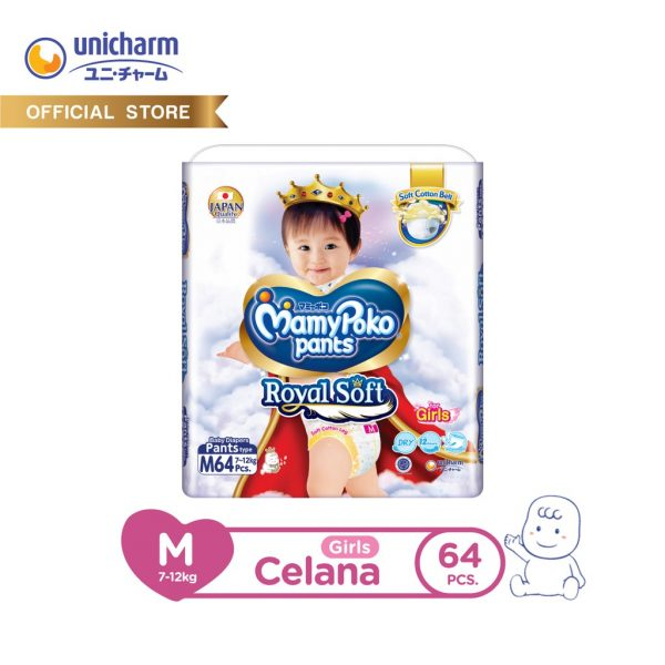 MamyPoko Pants Royal Soft - M 64 - Girls - Popok Celana