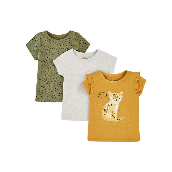 Mothercare Mustard Leopard, Grey and Khaki Spot T-shirts