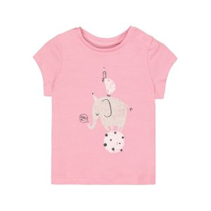 Mothercare Pink Circus Turtle Elephant T-shirt
