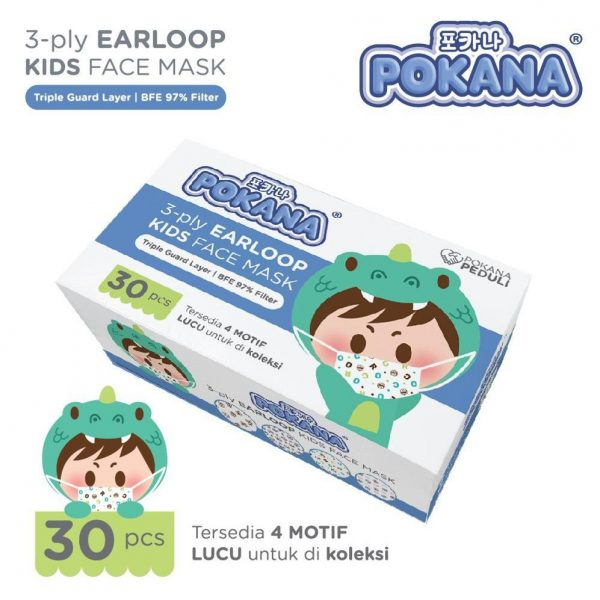 Pokana Earloop Kids Face Mask 3-ply - 30 pcs