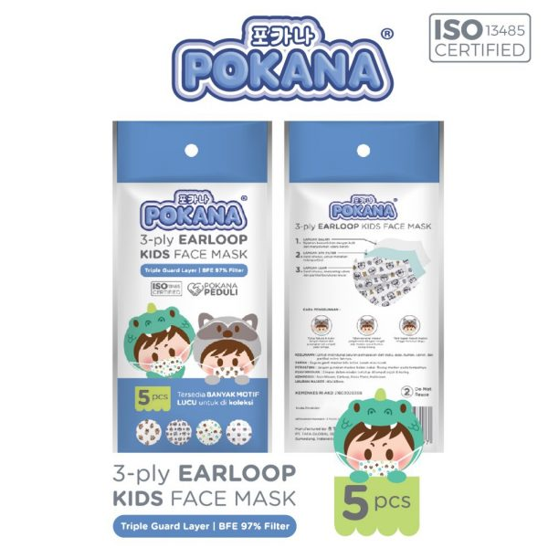 Pokana Earloop Kids Face Mask 3-ply - 5 pcs